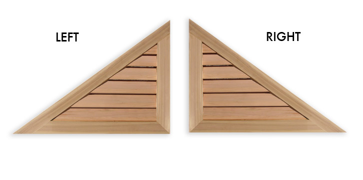 Right or Left Triangle Wood Gable Vent